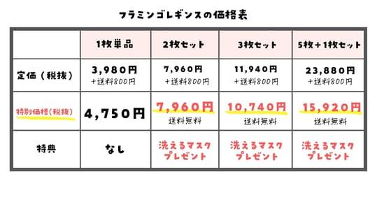 フラミンゴレギンスとグラマラスパッツの価格を比較